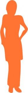 silhouette pro femme orange