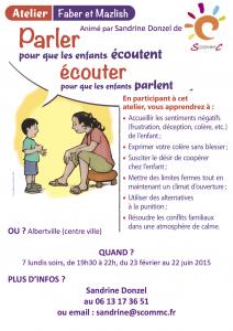 affiche atelier parler pour que les enfants écoutent Faber et Mazlish Albertville 2015