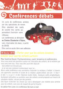 conference parler pour que les enfants ecoutent ecouter pour qu ils parlent Ugine Savoie 2015