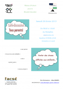 Affiche parler des choses difficiles aux enfants Saint Quentin Fallavier Reseau acteurs reussite educative