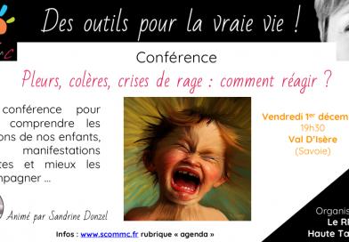 Conférence «pleurs, colères et crises de rage : mieux comprendre les émotions de nos enfants» – Val d'Isère (Savoie)