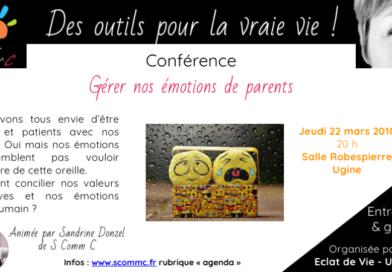 Conférence «Gérer nos émotions de parents» – Ugine – 22 mars 2018