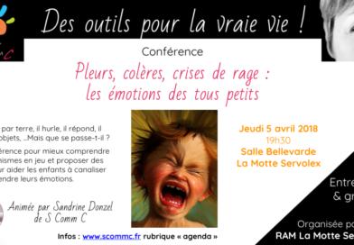 Conférence «pleurs, colères, crises de rage : les émotions des tous petits» – La Motte Servolex (Savoie)