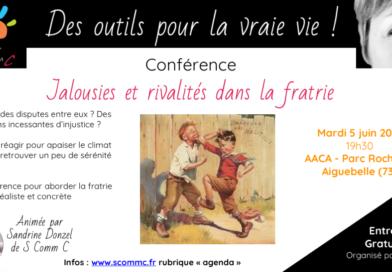 Conférence «Jalousies et rivalités dans la fratrie» – 5 juin 2018 – Aiguebelle (Savoie)