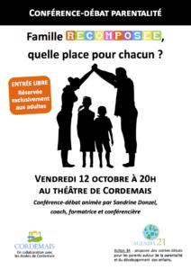 affiche conférence sandrine donzel famille recomposée Cordemais Nantes