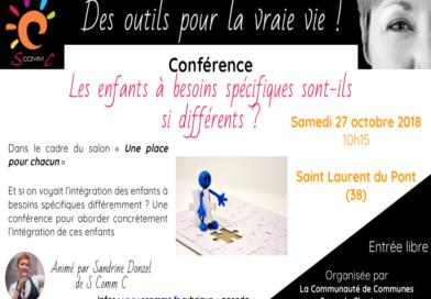 Conférence «Les enfants à besoins spécifiques sont-ils si différents ?» – Saint Laurent du Pont (Isère) – Samedi 27 octobre 2018