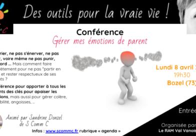 Conférence «Gérer mes émotions de parent» – Bozel (Savoie) – Lundi 8 avril 2019