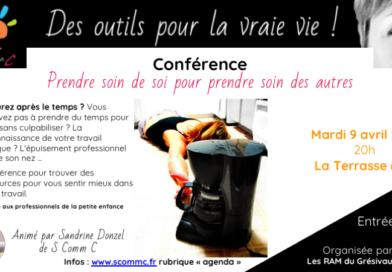 Conférence «prendre soin de soi pour prendre soin des autres» – La Terrasse (Isère) – Mardi 9 avril 2019