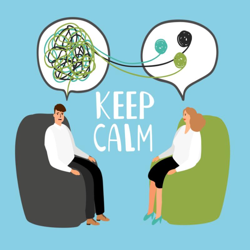 2 personnages sur des fauteuils, cerveau embrouillé pour l'un et l'autre l'aide à ordonner ses pensées