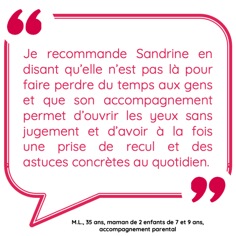 Je recommande Sandrine en disant qu'elle n'est pas là pour faire perdre du temps aux gens et que son accompagnement permet d'ouvrir les yeux sans jugement et d'avoir à la fois une prise de recul et des astuces concrètes au quotidien.
